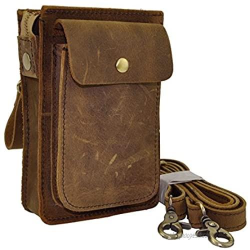 Le'aokuu Mens Genuine Leather Fanny Messenger Shoulder Satchel Waist Bag Pack (Brown)
