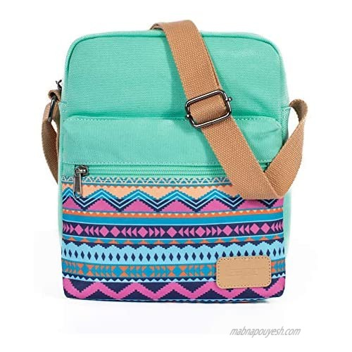 Leaper Small Canvas Crossbody Bag and Purse Set for Girls and Women