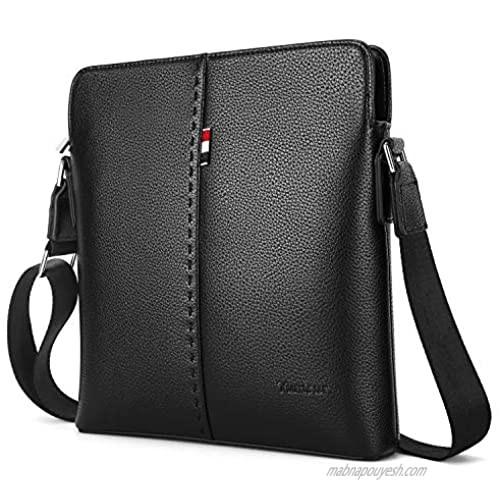 YumSur Mens Shoulder Bag  Genuine Leather Messenger Handbag Crossbody Bag for Men Purse iPad Bag for Business Office Work School with Adjustable Strap Black