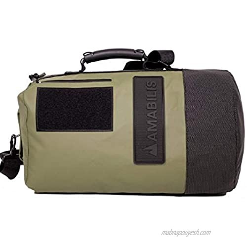 AMABILIS Dave Jr Water Resistant  Heavy Duty Tactical Duffel Bag  Military Inspired Rugged Duffel  18 x 10 Inches  Military Green