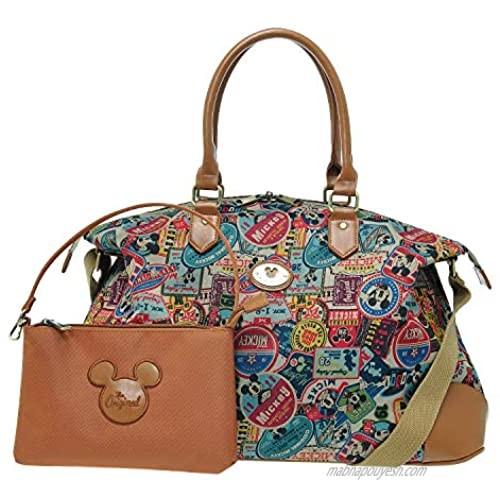 [Diseny] A176.Disney Mickey Mouse Women Travel Weekend Duffel Overnight Gym Bag (Brown)