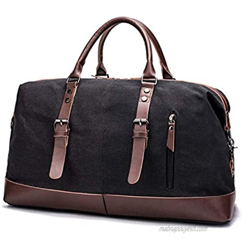 Duffle Bag for Men  Weekender Bag for Traveling  Large Overningt Bag for Women  Duffel Travel Bags for Camping  Heavy Duty  Black  Canvas and Leather  40L