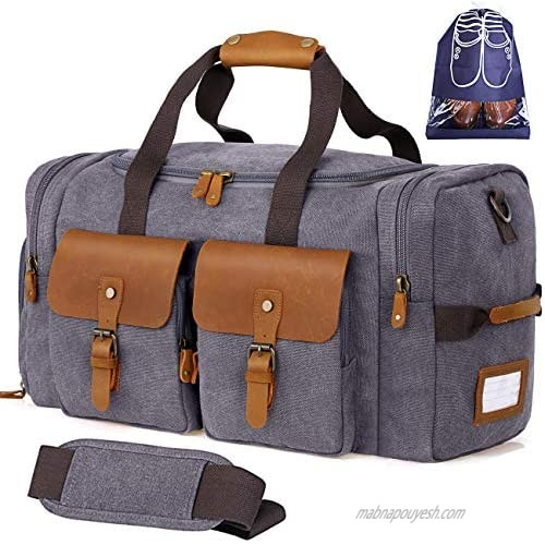 Flipzon Duffle Bag for Men Women Canvas Genuine Leather Large Duffel Bag Overnight Weekender Bag with Waterproof Shoe Compartment and Shoulder Strap with Pad  Gym Bag Travel Luggage Bag with Tag(Grey)