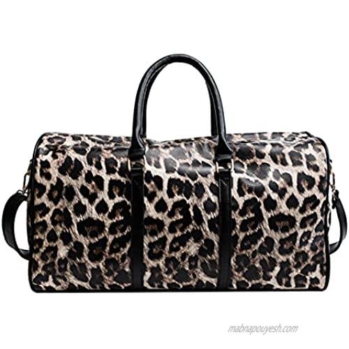 Travel Bag for Man Women Girls Leopard Leather Weekender Cheetah Animal Print Duffle Overnight Tote Shoulder Bags 22L (Leopard Brown)