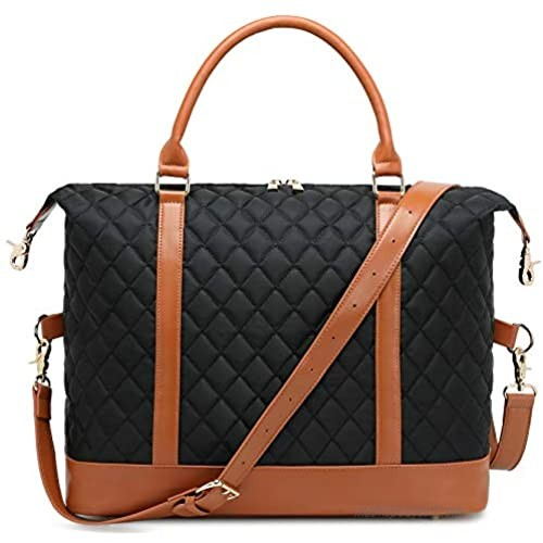 Women Overnight Tote Bag Weekender Travel Duffel Bags Quilted Carry-on Beach Tote Work Bags with luggage sleeve (Black-A)