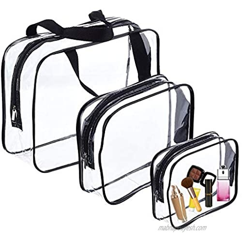 3Pcs Clear Toiletry Bags Clear Plastic Cosmetic Bag with Zipper PVC Make-up Pouch for Vacation Travel  Bathroom and Organizing (Three sizes)