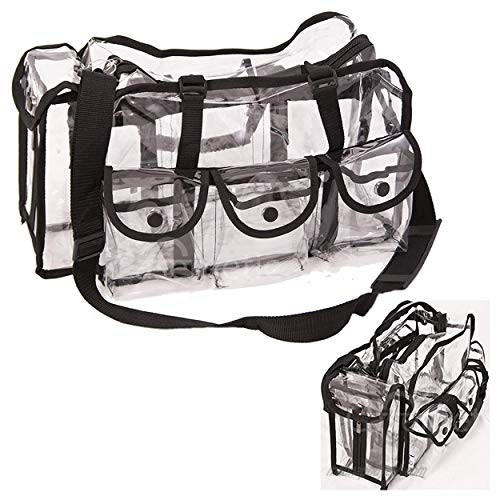 Casemetic Clear Tote Travel Bag with 6 External Pockets and Shoulder Strap for Makeup Artist  Large