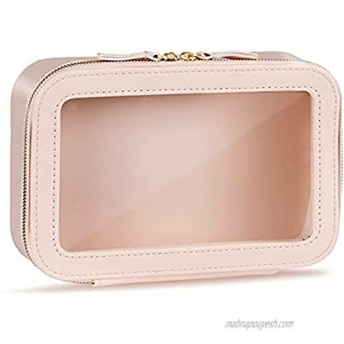 Clear Makeup Bag Large Cosmetic Bag PU Leather Cosmetic Organizer Portable Travel Toiletry Pouch Water-resistant Toiletry Cosmetic Case for Women Girls Toiletries Cosmetics (Pink)