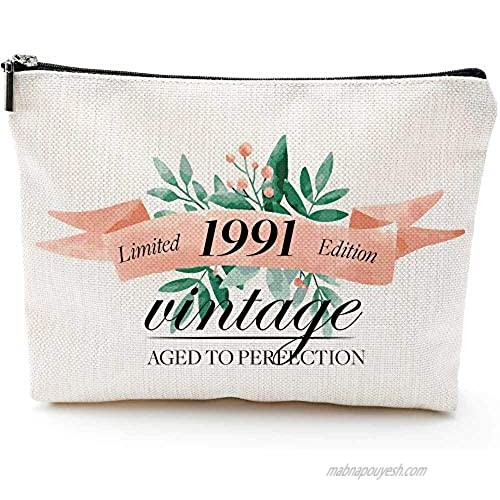 Gifts for Women Turning 30  Funny 30th Birthday Gifts for Women-Makeup Bag-1991 30 Year Old Present Ideas for Mom Aunt Friends Bestie