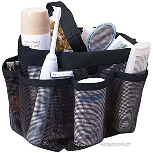 Greenery Quick Drying Oxford 8 Pockets Hanging Mesh Shower Caddy Organizer Toiletry Tote Makeup Cosmetic Storage Bag Travel Camp Gym Dorm Bathroom Accessory Pouch Case Holder with Handles