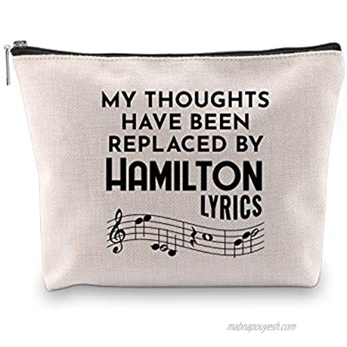 Novelty Hamilton Musical Gift My Thoughts Have Been Replaced by Hamilton Lyrics Cosmetic Bag (HAMILTON LYRICS Cosmeticbag)