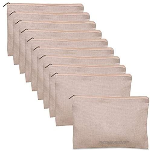Uspacific 10pcs Multipurpose Makeup Bag with Zippe Beige Canvas Cosmetic Bag Pouches Travel Toiletry Bag Pen Pencil Blank Bag DIY Craft Bag Invoice Bill Bag