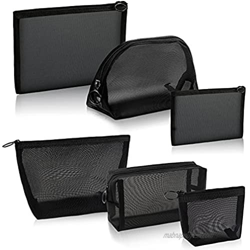 Ylinge 6 Pieces Mesh Makeup Bag Portable Mesh Cosmetic Bags Black Mesh Zipper Pouch Travel Toiletry Storage Pouch for Home Offices Travel Accessories Organizer