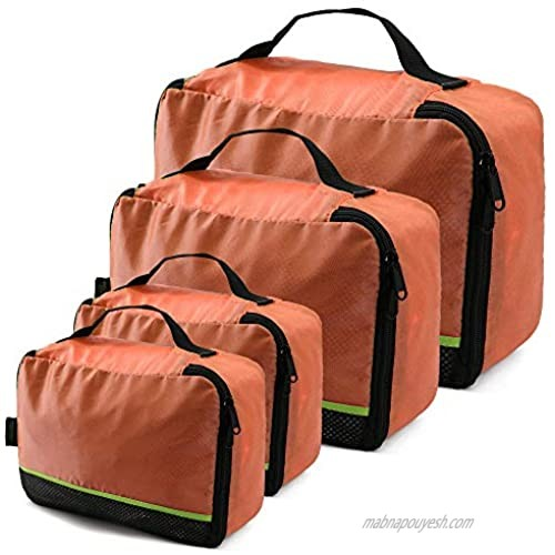 4 Orange Suitcase Insert Organizer Durable Cube Travel Bags w Mesh Top Panel Machine Washable Travel Luggage Packing Bags for Trip Storage