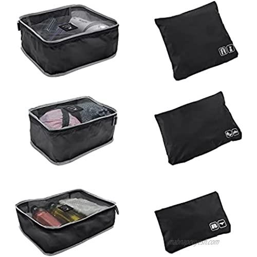 GForce Toiletry Bag 6 Piece Ultimate Traveling Set  Packing Cube  Organizer  Storage  Water Resistant  Black