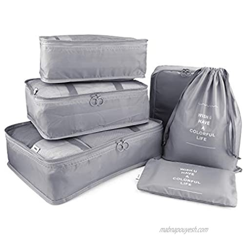 HDWISS 6 Set Cube Packing Bags for Travel Luggage Packing Organizers - Gray