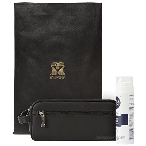 Muiska Leather Tomas Classic Double Zippered Travel Dopp Kit Toiletry Bag