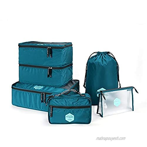 Travel Packing Cubes 6 Pcs Travel Bags Organizer for Luggage with Toiltery Kit & Laundry Bag(BLUE/GREY/PINK) (BLUE)