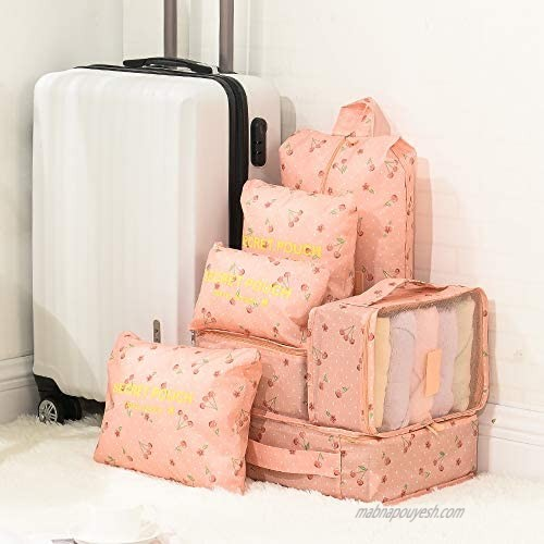 Travel Storage Bag / 7 pcs Set Luggage Organizer Packing Cubes Compression Pouch (Pink)