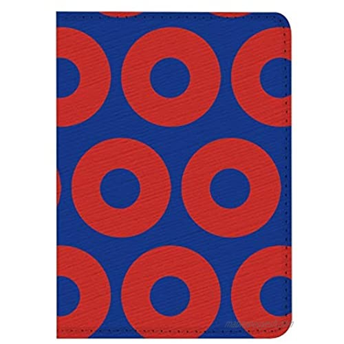 Leather Passport Holder Cover Case RFID Blocking Travel Wallet (Red Donut Circles On Blue)