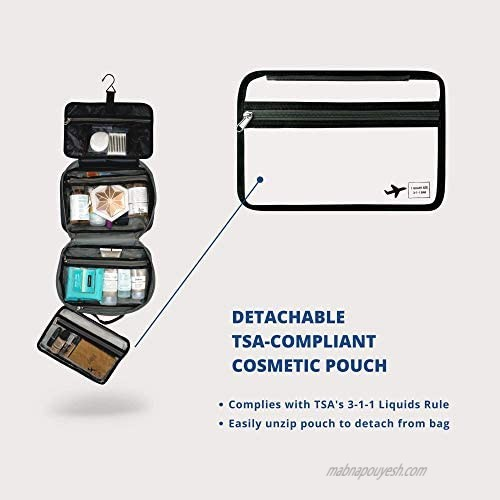 Hanging Toiletry Bag For Women and Men Use As A Makeup Bag Organizer Or Travel Bag - Includes TSA Approved Detachable Cosmetic Kit And Large Waterproof Compartments For Full Sized Toiletries