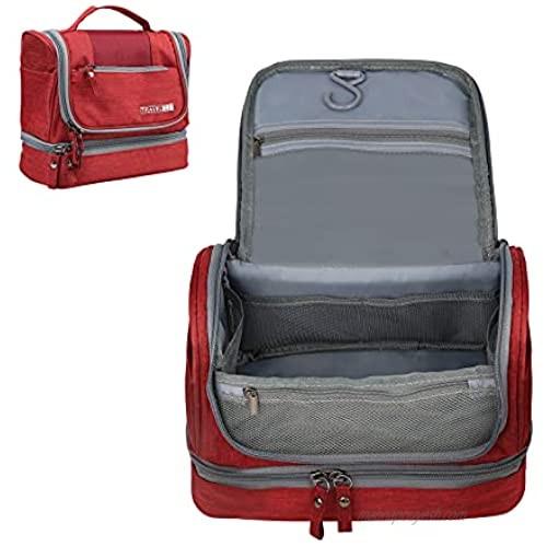 TABITORA Toiletry Bag Portable Hanging Travel Organizer Large Capacity Dry Wet Separation  Red