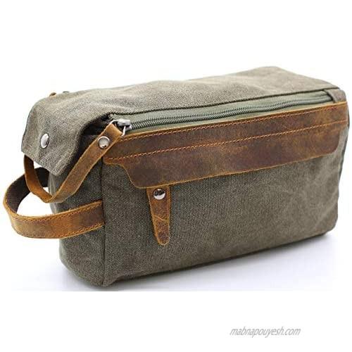 Toiletry Bag For Men Shaving Kit Bag Crazy Horse Leather Dopp Kit For Men Travel Shaving Bag Mens Toiletry Bag Canvas