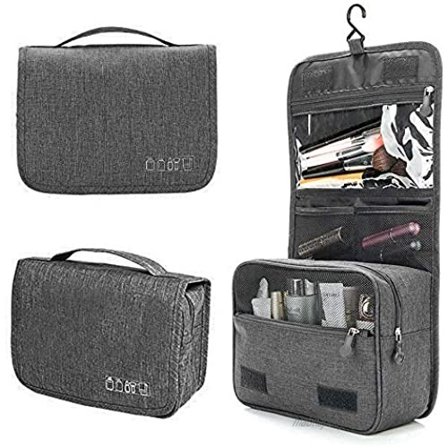 Water Resistant Hanging Compact Travel Toiletry Bag for Women and Men Kit Cosmetic Makeup Organizer with Separate Zipper Closed Compartments for Toiletries Accessories