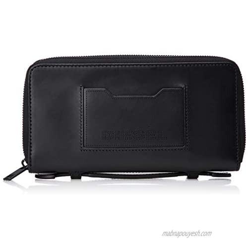 Diesel Men's Embogo 24 Zip Big Wallet  BLACK