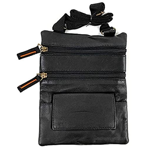 New Genuine Leather Neck Pouch Holder Passport ID Documents Travel Wallet Bag | Leather Neck Pouch | Passport Travel ID Wallet Holder | Passport Holder | Wallet for Travels | Black