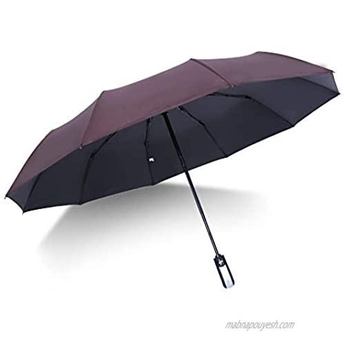 Folding Umbrella Windproof Travel Reinforced Canopy Ergonomic Handle Auto Open/Close Dual Layers  Less UV Rays(Brown)