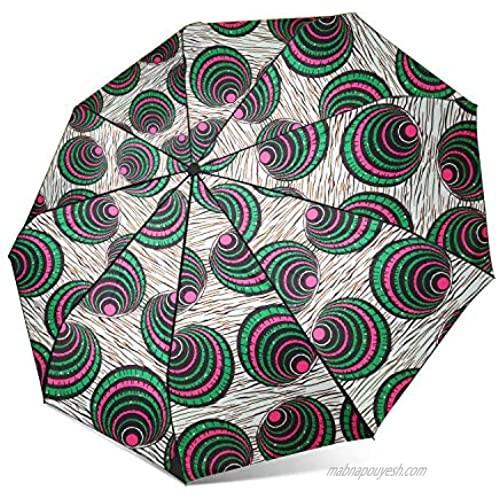 HongyuAmy African Print Umbrellas Ankara Waxprint Folding Umbrella (One Size Color B)