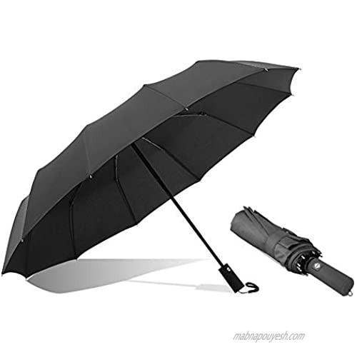 Windproof Umbrella Automatic Open & Close Travel Folding Umbrella with 12-rib Portable Lightweight Outdoor Sun & Rain Resistant for 2-3 people (Black)