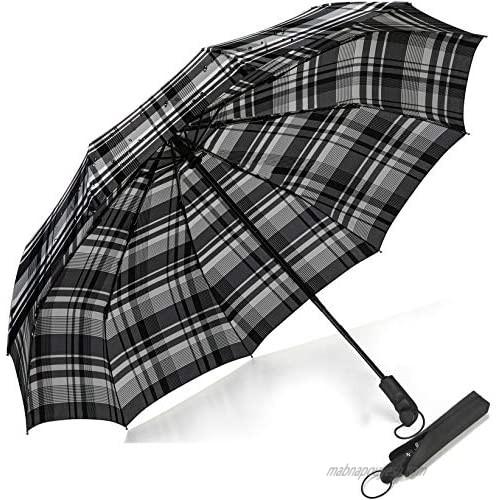 Folding Travel Umbrella 10Ribs Bulliant Automatic Umberlla Windproof Large Teflon Canopy Wet-Proof Bag