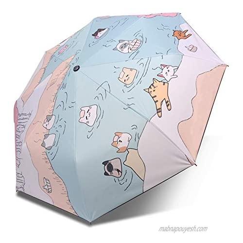 Tevija UV Protection Windproof Umbrella Teflon Coating UPF50+ Multi-Layer Umbrella Strong 8 Ribs Windproof for Rainy Sunshine Outdoor Travel Daily Use