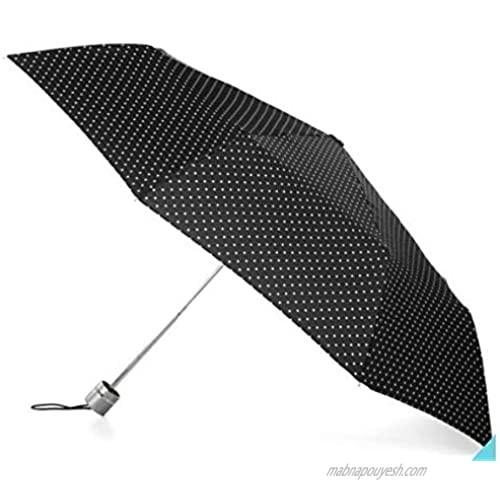 "Totes Polka Dot Mini Folding Umbrella  Slender Umbrella  Black & White Dots  43"" Canopy"
