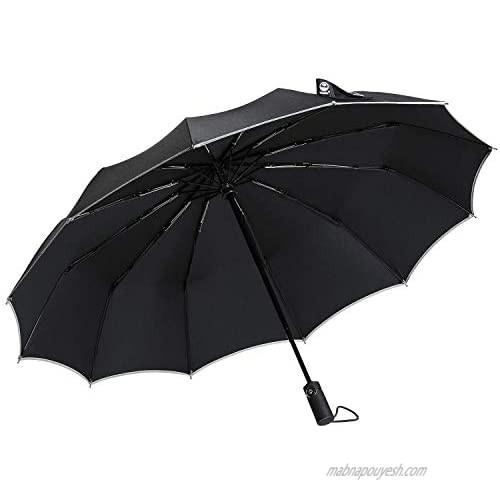 Umbrella  Travel Compact Sun Umbrella Windproof  12 Ribs Mini Small Folding Umbrella Automatic Open Close with Reflective Stripe  Portable Totes Umbrellas for Women Men - Black