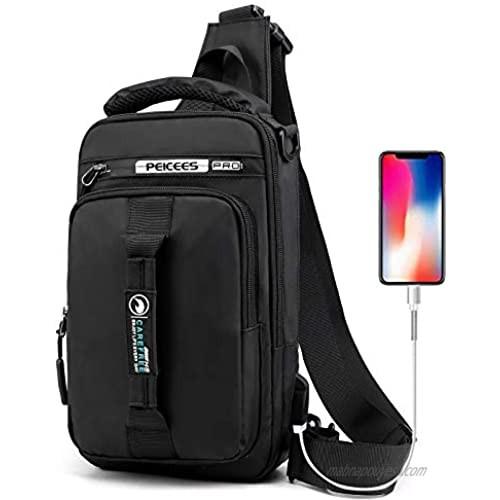 Peicees Sling Bag for Men & Women Waterproof Sling Backpack Crossbody Shoulder Bag with USB Charging Port for Travel  Hiking Cycling