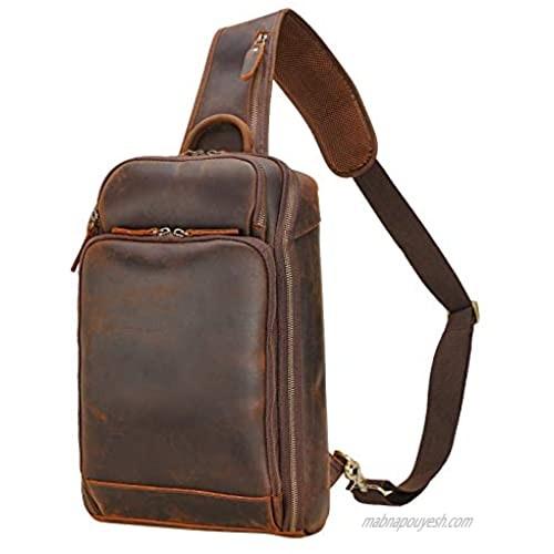 Polare Full Grain Leather Sling Bag Travel Outdoor Daypack Backpack Crossbody Chest Shoulder Bag For Men