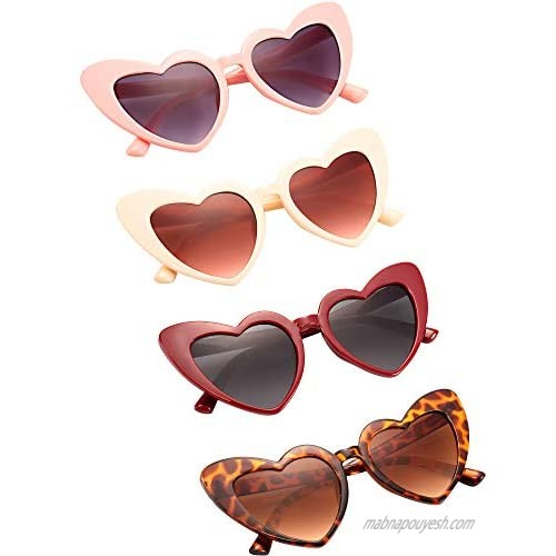 4 Pairs Heart Shaped Sunglasses Goggle Vintage Cat Eye Sunglasses Mod Style Retro Glasses with 4 Pieces Glasses Cloth 4 Pieces Flannel Bag for Party Supplies