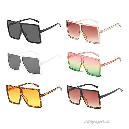 6 Pack Wholesale Square Oversized Sunglasses for Women Men Flat Top Fashion Big Shades