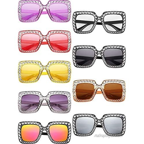 9 Pairs Oversize Square Sparkling Sunglasses AC Frame Glasses for Women