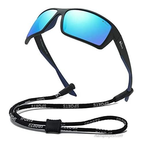 Bevi Sports Sunglasses Polarized Lens/TR 90 Frame with Spring Hinges Glasses For Men Women Cycling Running Baseball