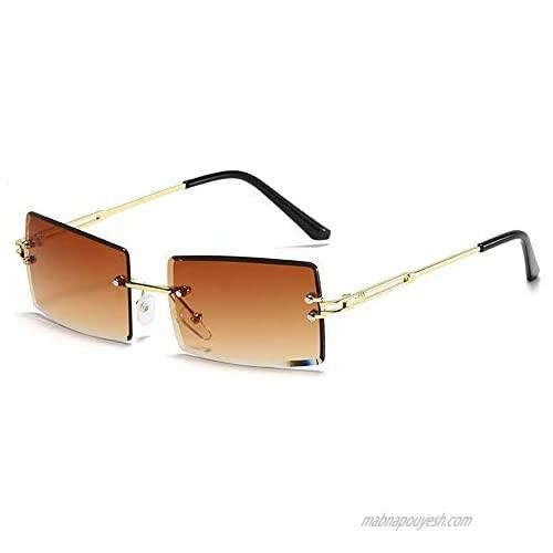 Heptagram Rimless Rectangle Sunglasses for Women Square Fashion Frameless Small Vintage Buffs Glasses for Men shades