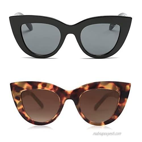 SOJOS Retro Vintage Cateye Sunglasses for Women UV400 Mirrored Lens 2PACK SJ2939