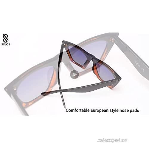 SOJOS Vintage Cateye Polarized Women Sunglasses Trendy Oversized Frame SJ2115
