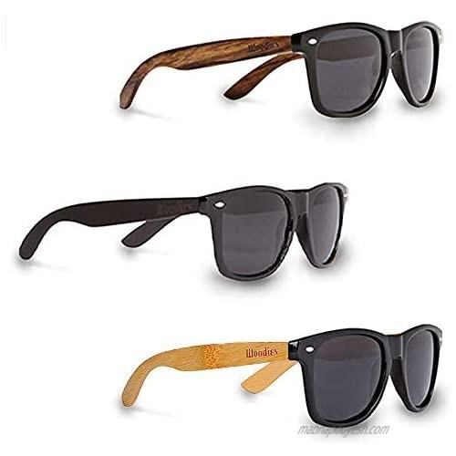WOODIES Three Polarized Sunglasses Bundle   Walnut Wood  Ebony Wood and Bamboo Wood Sunglasses for Men and Women   Black Polarized Lenses and Real Wooden Frame   100% UVA/UVB Ray Protection