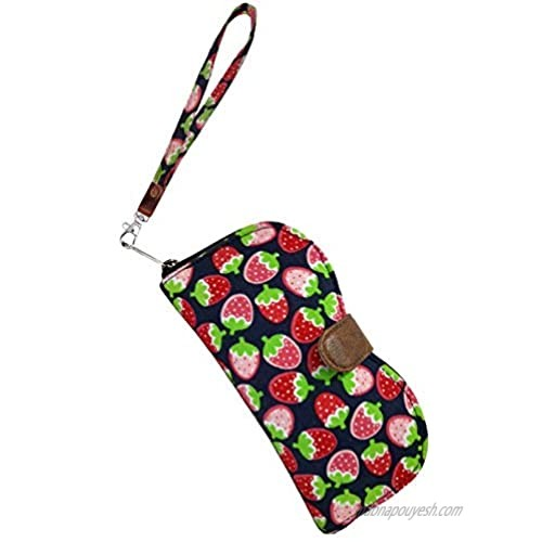 ANYA Women's Glasses Eyeglass Sunglasses Case Large Soft Glasses Sunglasses Case for Woman with Cleaning Cloth and Wristlet (Strawabery)