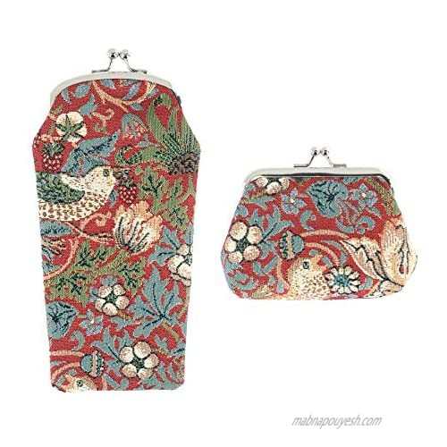 CTM Women's Floral and Bird Print Tapestry Glasses Case & Coin Purse Set