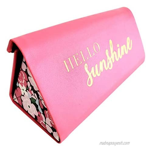 """Hot Pink Faux Leather""""Hello Sunshine"""" Sunglass Case Expandable or Folds Flat"""
